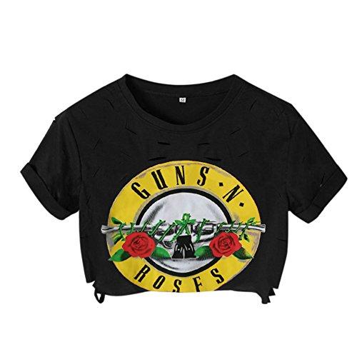 Petalum Damen Crop Shirt Sommer Basic Elegant Casual Zerrissen Rundhals GUNS N ROSES Aufdruck Kurz Ärmel Tops (Roses T-shirt Shorts Guns N)