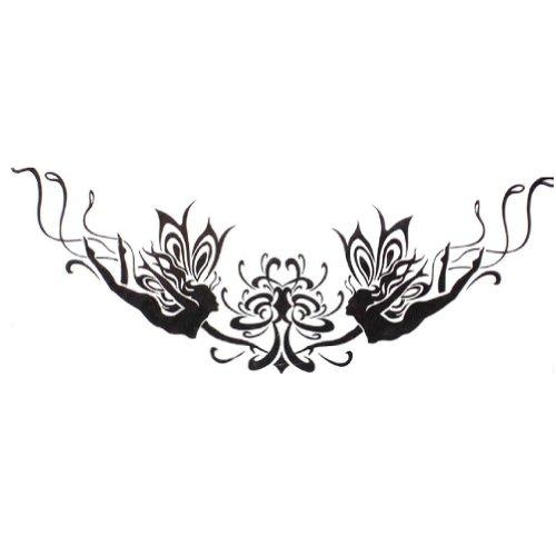 4Pcs [Ange & Fleur] Tatouages temporaires imperméable Tatouages sexy,noir