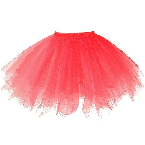 (Tutu Frauen und Mädchen Ballettröckchen Röcke Prinzessin Ballett Pettiskirt Performing Dress Dancewear Unterröcke (Für Erwachsene(Waist: 60-95CM), red))