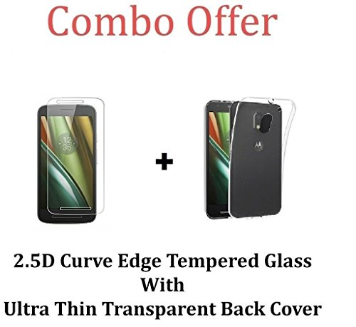 M.G.R.J Motorola Moto E3 Power Transparent Back Cover + Ballistic Tempered Glass Screen Protector - Maximum Impact Protection - 99.9% Crystal Clear HD Glass - No Bubbles
