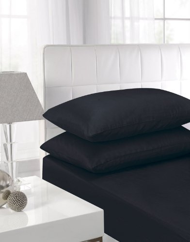 Textiles Direct Affinity Soft Touch Fitted Sheet Black Double Bed by