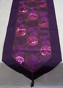 Cercles à Paillettes Violet Chemin de Table en imitation soie