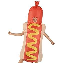 F Fityle Costume Gonflable Drôle De Costume De Hot-Dog avec des Tenues De Cosplay d'halloween pour Adultes