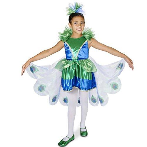 hübscher Pfau Kinder Mädchen Halloween Fasching Karneval Kostüm Kleid + Haarreif (104-116)