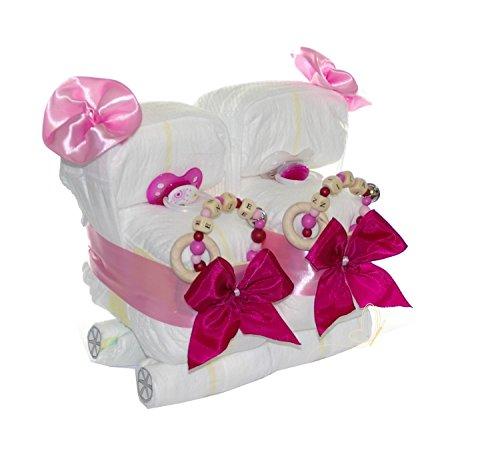 dubistda© Windeltorte Zwillinge Windelwagen rosa / 25-teilig/Zwillingswagen - Geschenk für Zwillinge Mädchen inkl. zwei personalisierten Greiflingen + Grußkarte