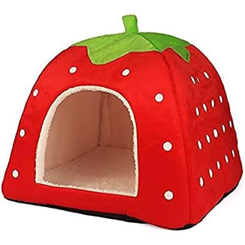 regalos tus mascotas mas kawaii Lovely Strawberry suave cachemir cálido nido mascota perro gato cama plegable tamaño S-XXL