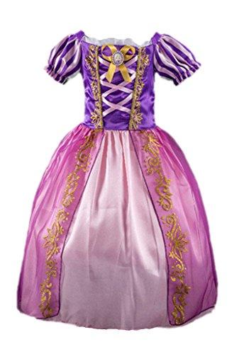 Kostüme Prinzessin Halloween Für (Ninimour Prinzessin Kleid Grimms Märchen Kostüm Cosplay Mädchen Halloween Kostüm Violett#5,)