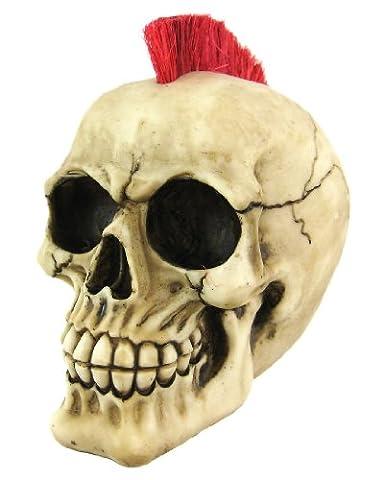 Punk Rock Rot Mohawk Menschlicher Schädel Statue Figur