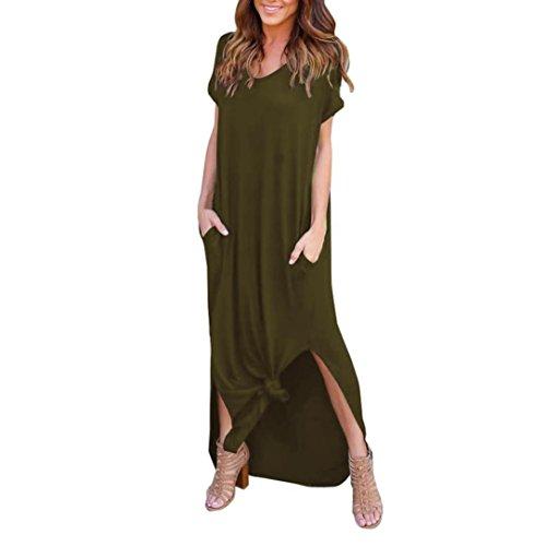 ❤️Falda larga, Challeng Playa suelta de verano, puntas abiertas, falda maxi de manga corta vestido estampado, vestido (l)