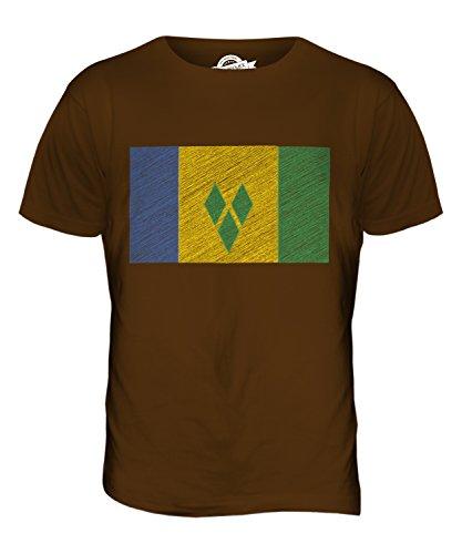 CandyMix St. Vincent Und Die Grenadinen Kritzelte Flagge Herren T Shirt Braun
