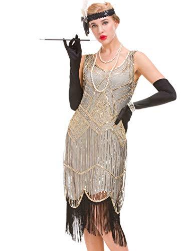 Jahre Vintage Kleid - Fransen Great Gatsby Kleid (beige, XS(UK 8 / EU 36) Bust 31.5