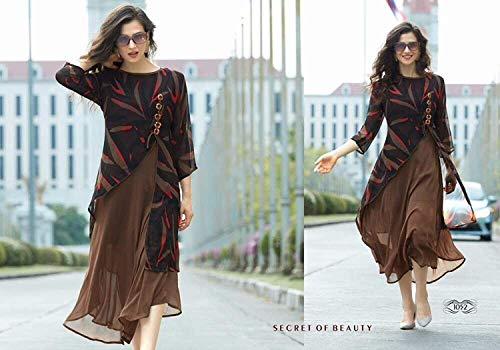 KURTIS FOR WOMEN Latest design for Party Wear Buy in Today Offer in Low Price Sale, XL Size Ladies Kurti, Fancy Material Latest Kurtis, Designer Beautiful Bollywood Kurtis, Kurtis For Women Party Wear Offer Designer Kurtis, Kurtis With inner, New Collection Kurtis, Kurtis For Womens, New Party Wear Kurtis, Women's Clothing Kurtis Collection in Multi-Coloured For Women Party Wear, Wedding, Casual Kurtis Offer Latest Design Wear Kurtis With Blouse Piece (Brown)