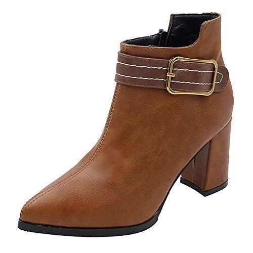 MYMYG Damen Leder Stiefel Frauen High Heel Schuhe Martain Boot Leder einfarbig Runde Zehe Reißverschluss Schuhe Slip-On Booties Stiefel Herbst Winter Flache Freizeitschuhe