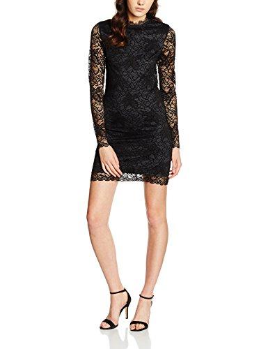 Vila Clothes Damen Kleid VIPIATRI Dress, Schwarz (Black Detail:Ebony Lining), 36 (Herstellergröße:...