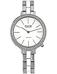 FOCE Silver & White Round Analog Wrist Watch for Women with Silver ::White Metal & Ceramic Strap - F379LSM-WHITE