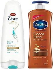 Dove Dryness Care Conditioner, 180ml & Vaseline Intensive Care Cocoa Glow Body Lotion, 400 ml
