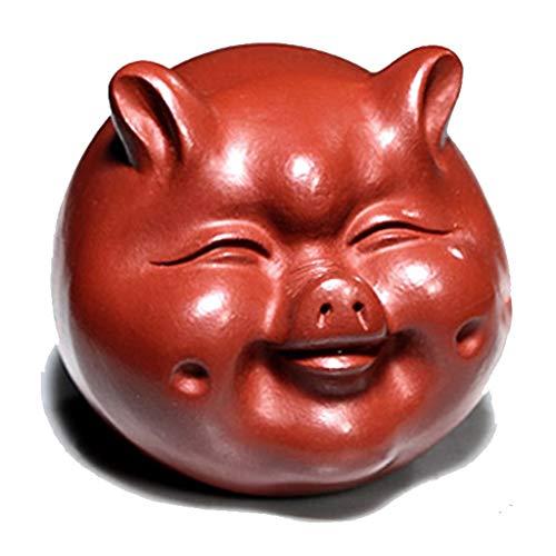 WSGZH Schweinendekoration Tierverzierungen Teehaustierdekoration Roherz lila Sandteezeremoniezubehör Fuqi-Schweinkleinesetee Haustier (Color : Brown, Size : 5 * 5.7CM) -