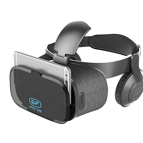 ZHJIUXING HO Virtual-Reality-Headset, Virtual-Reality-Box, 3D-VR-Brille, VR-Headset für 3D-Filme, Videospiele, Kompatibel mit Android IOS und Anderen 4,5- bis 6,3-Zoll-Smartphones, Gray