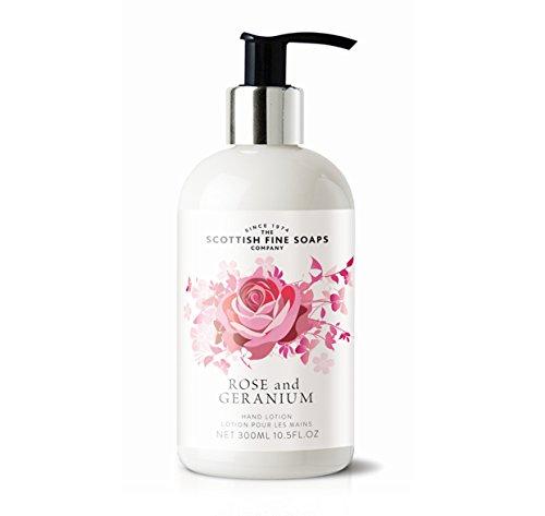 Scottish Fine Soaps Rose et Géranium lotion pour les mains 300ml Flacon pompe