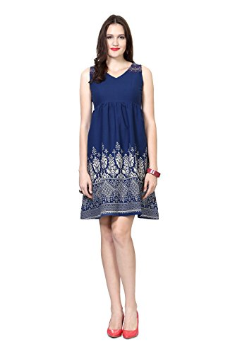People Women's Cotton A-Line Dress (P10202991646169_Blue_Medium)  available at amazon for Rs.499