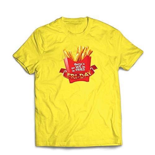 lepni.me Männer T-Shirt Es gibt Keine wir in Pommes Freitag Outfit Junk Food Liebhaber (Large Gelb Mehrfarben)
