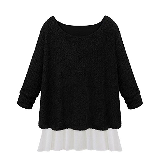 Ou Griglia da donna Plus Size finto due pezzi Loose Knit Pullover Maglione black + white XX-Large