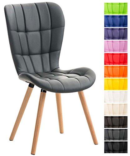 Clp sedia chic da sala da pranzo elda, similpelle, imbottita, trapuntata, 4 gambe in legno, sedia visitatore, sedia cucina, poliuretano, alto schienale, sedia design, sedia bar grigio