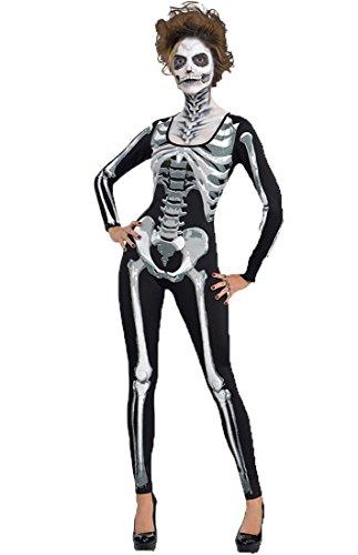 Honeystore Damen's Gespenstisch Sexy Schädel Overall Unheimlich Kleid Damen-skelett Erwachsene Halloween Kostüm Schwarz S (Baby Elvis Perücke)