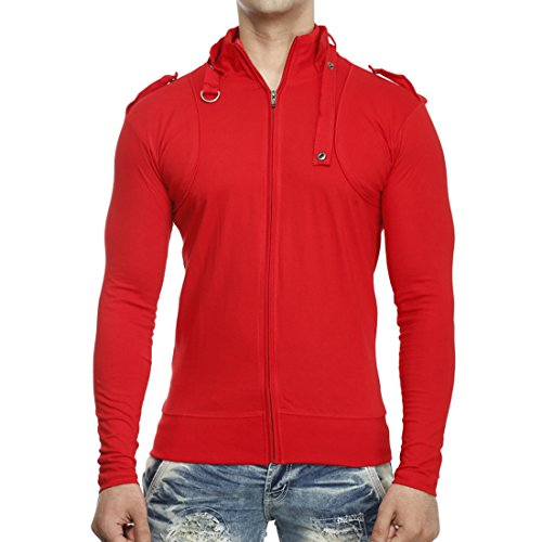 Tees-Collection-Mens-Full-Zip-Buckle-Neck-Full-Sleeve-Red-Colour-T-shirt