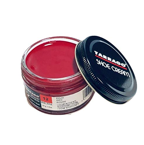 Tarrago Shoe Cream Jar 50 ml - Crema tinta para zapatos y bolsos, unisex, adulto, Rojo (Red 12), 50 ml