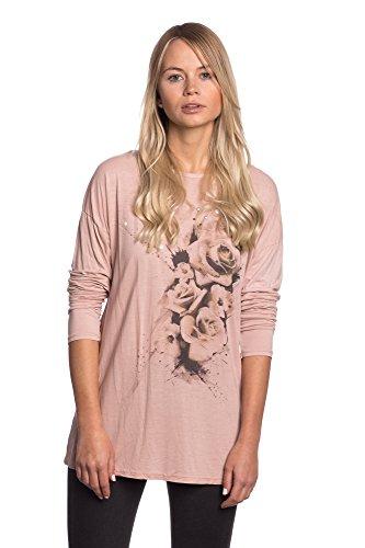 Abbino IG004 Langarm Shirts Damen Frauen - Made in Italy - Viele Farben - Übergang Frühling Sommer Herbst Basics Unifarbe Locker Lässig Sexy Sale Freizeit Elegant Mode Trend Modisch Schöner Rosa (Art. B155)