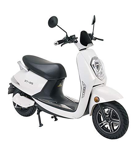 Lunex Scooter eléctrico Adulto E-Scooter 1200W Retro Vespa Moto Ciclomotor 45km/h Blanco
