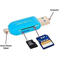 Multi Use 3 in 1 Micro USB OTG Smart TF Card Reader Adapter with 2.0 USB HUB 480mbps (Multicolour)