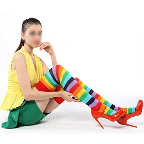 G-Brand GGG 2015 Stilvoll Damen Regenbogen-Farben Streifen Stitching Lange Socken Über-Knie Schlank Strümpfe