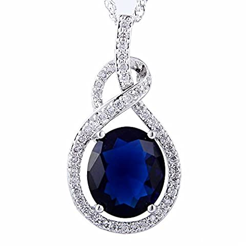 Schmuck Anh?nger Oval Cut Blue Sapphire Zirkonia freie Halskette (Cut Accent)