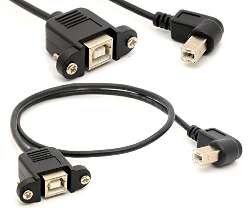 Drucker-Verlängerungskabel USB 2.0 B-Adapter-Stecker auf Buchse Anschlüsse 90 Grad Sockel rechten winkligen Scanner Kabel mit Schraube Plattenmontage 0,5m