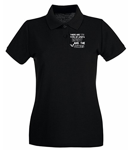 Cotton Island - Polo pour femme TRUG0128 rugby designs fitted logo Noir