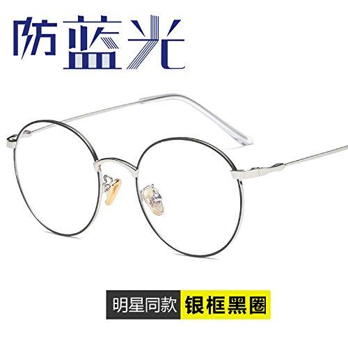 KOMNY Anti blau computer Strahlung Nachweis Brille Schutzbrille Spiel handy spiele Brillen und Gläser Trendsetter, Silber Rahmen schwarz Ring