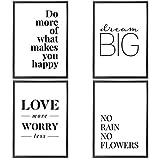 VERSCHIEDENE Poster Set 's » Love More « 4 x DIN A4 auch mit Bilderrahmen | Bilder schwarz weiß mit Sprüchen für Wohnzimmer | Kunstdruck, Wandbild, Bild mit Spruch für Schlafzimmer mit Rahmen