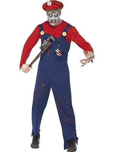 Fancy Me Herren Zombie Mario Klempner Halloween 1980s Jahre 80s Jahre Videospiel Kostüm Kleid Outfit - Rot, Medium