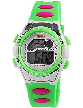 Digital-Armbanduhr Weiß Grün Pin
