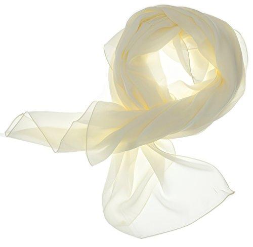 DOLCE ABBRACCIO by RiemTEX Lady Sunshine Damen Seidenschal Schal Halstuch Tuch Stola aus feinstem Chiffon mit Seide (Creme)