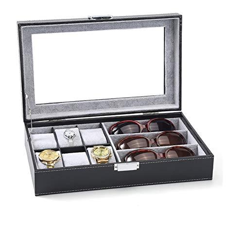 KLI 9 Grids Leather Watch Sunglasses Display Box Schmuckschatulle abschließbarer Aufbewahrungskoffer Armband Organizers Collection mit Kissenhalter, schwarz