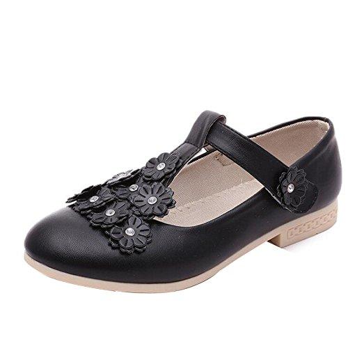 Gaorui Kind Mädchen T-Riemen Ballettschuhe Klettband Leder Oxford mit Blumen Weiß Schwarz
