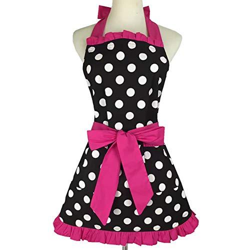 Damen Vintage Schürze mit Herzmotiv Retro Schürze Polka Dot Schürze 100% Baumwolle Schürze Prinzessin Kleid Overalls Schürze Superior Geschenk für Küche und Party, rosarot, 72*62 CM (28.3x24.4 Inches) -