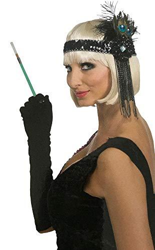 Kopfschmuck mit Pfauenfedern Flapper Kostüm-Zubehör 20er Jahre Damen Twenties 20's Gatsby Girl Pailletten Federn Perlenkette ()