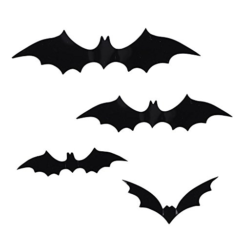 EROSPA® Fledermaus Bat Halloween 3D Wand-Deko Fenster Tür 12 teiliges Set (Halloween Wand)