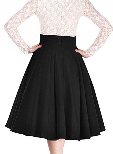 Miusol Damen Elegant Faltenrock Zweireiher Causal Business Vintage 1950er Jahr Roecke Schwarz Gr.L -
