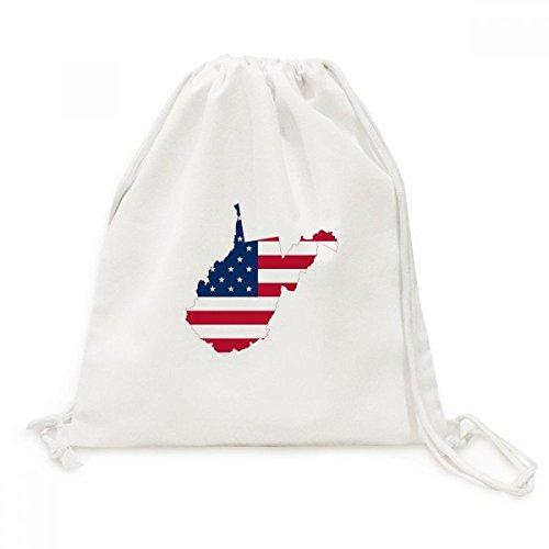DIYthinker Virginia Usa West Karte Stars and Stripes-Flagge Form Leinwand Rucksack-Reisen Shopping Bags (Stripes-flagge And Stars)
