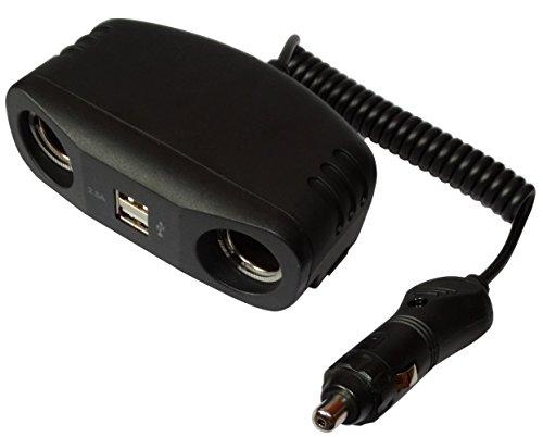 Multiprise triple rallonge 1m pour allume-cigare 10A 12V 3x3A testeur de batterie auto voiture caravane camping-car Aerzetix